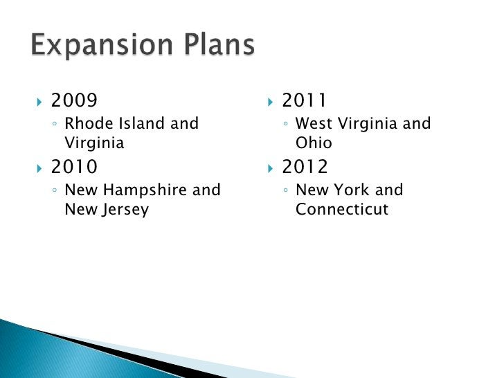 Expansion Plans<br />2009<br />Rhode Island and Virginia<br />2010<br />New Hampshire and New Jersey<br />2011<br />West V...