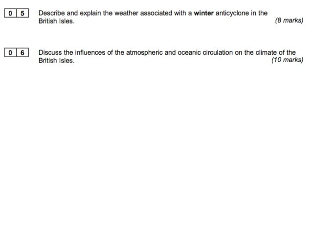 Describe and explain the weather  associated with a winter anticyclone in  the British Isles. (8 marks)