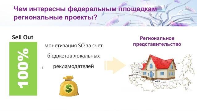 Чем интересны федеральным площадкам региональные проекты? Sell Out 100% монетизация SO за счет бюджетов локальных рекламод...