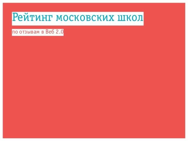 Рейтинг московских школ по отзывам в Веб 2.0
