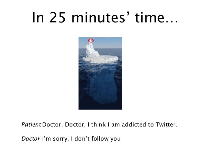In 25 minutes' time… Patient Doctor, Doctor, I think I am addicted to Twitter. Doctor I'm sorry, I don't follow you