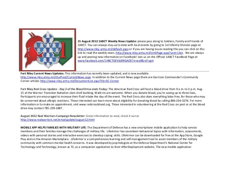 15 August 2012 1ABCT Weekly News Update: please pass along to Soldiers, Family and Friends of                             ...