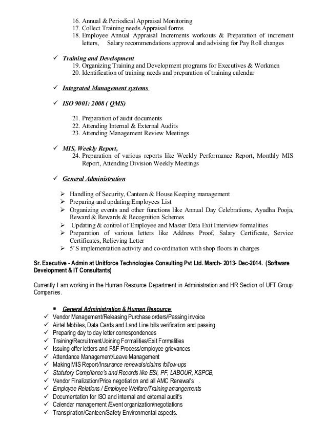 Resume Of Umesh – Annual Increment Letter