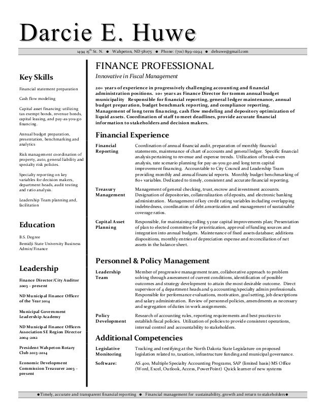 Darcie Huwe Financial Analyst Resume