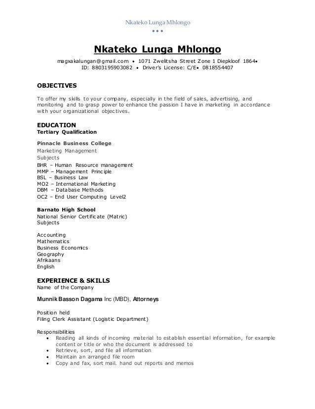 Nkateko Lunga Mhlongo (CV).d101010101 Slide 2