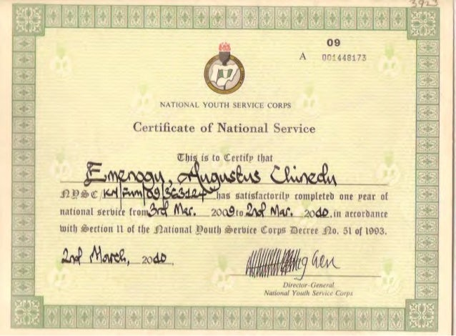National Youth Service Corps Certificate