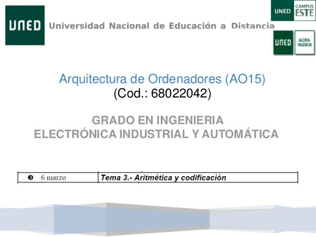Arquitectura de Ordenadores (AO15) (Cod.: 68022042) GRADO EN INGENIERIA ELECTRÓNICA INDUSTRIAL Y AUTOMÁTICA