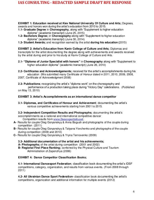 Wk sample redacted o 1b 2nd rfe response 102216 qualifications 6 yelopaper Gallery