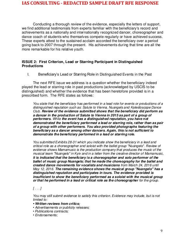 Wk Sample - redacted O-1B 2nd RFE Response 10 22 16