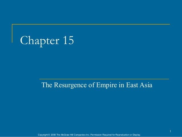Chapter 15      The Resurgence of Empire in East Asia                                                                     ...