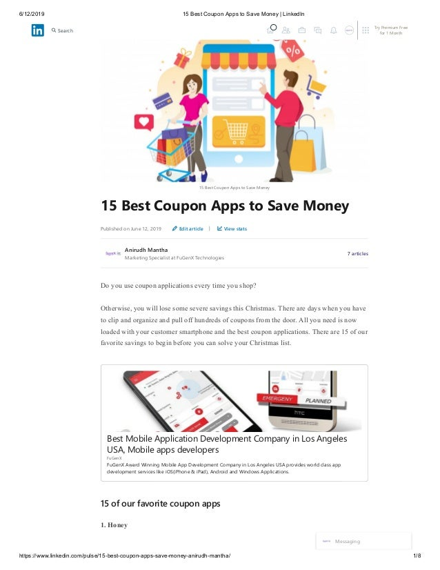 6/12/2019 15 Best Coupon Apps to Save Money   LinkedIn https://www.linkedin.com/pulse/15-best-coupon-apps-save-money-aniru...