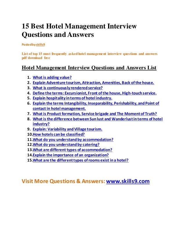 Elegant 15 Best Hotel Management Interview Questions And Answers Posted By Skills9  List Of Top 15 Most  Hotel Interview Questions