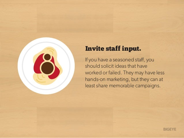 Invite staff input. If you have a seasoned staff, you should solicit ideas that have worked or failed. They may have less h...