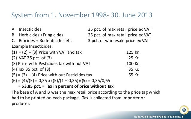System from 1. November 1998- 30. June 2013 A. Insecticides 35 pct. of max retail price ex VAT B. Herbicides +Fungicides 2...