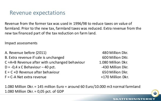 Revenue expectations Revenue from the former tax was used in 1996/98 to reduce taxes on value of farmland. Prior to the ne...
