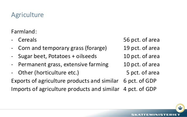 Agriculture Farmland: - Cereals 56 pct. of area - Corn and temporary grass (forarge) 19 pct. of area - Sugar beet, Potatoe...