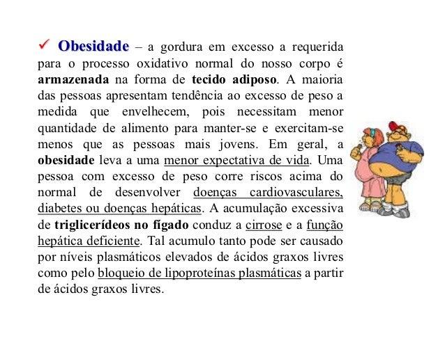 Obesidade – a gordura em excesso a requeridapara o processo oxidativo normal do nosso corpo éarmazenada na forma de tecido...