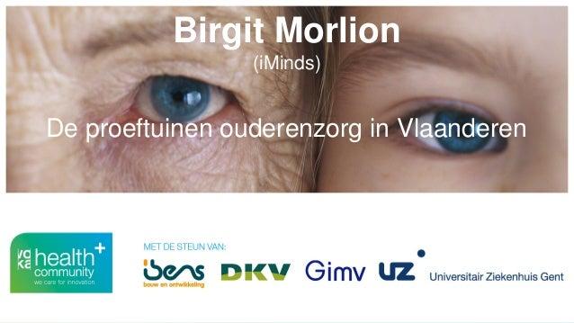 Birgit Morlion (iMinds) De proeftuinen ouderenzorg in Vlaanderen