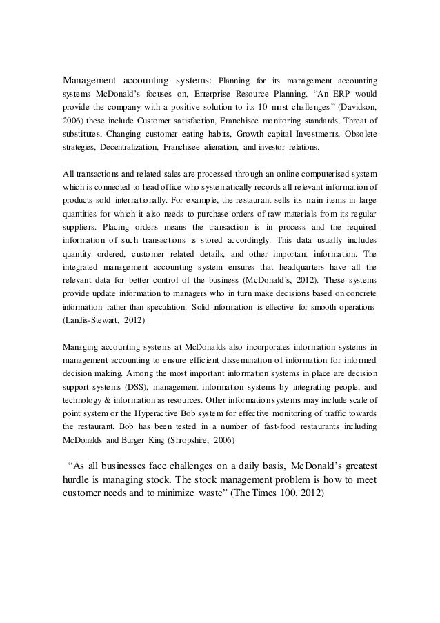 mcdonalds accounting report Mcdonald's corporation financial report mcdonald's corporation 1 of accounting change $ 1,662(1) 2,330(4.