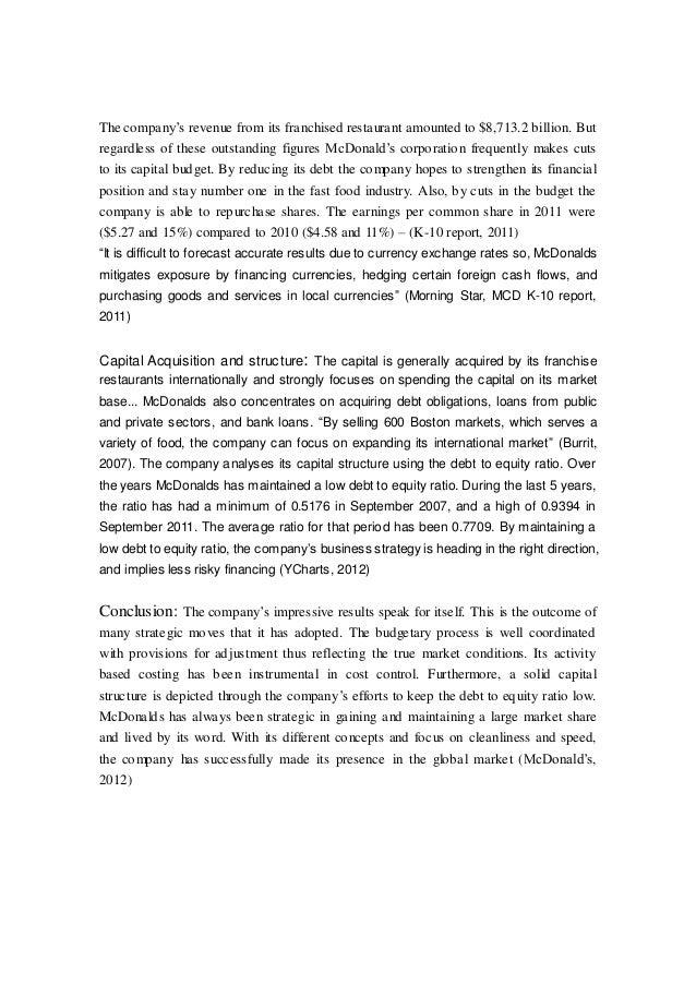 Mcdonalds Business Report 2012
