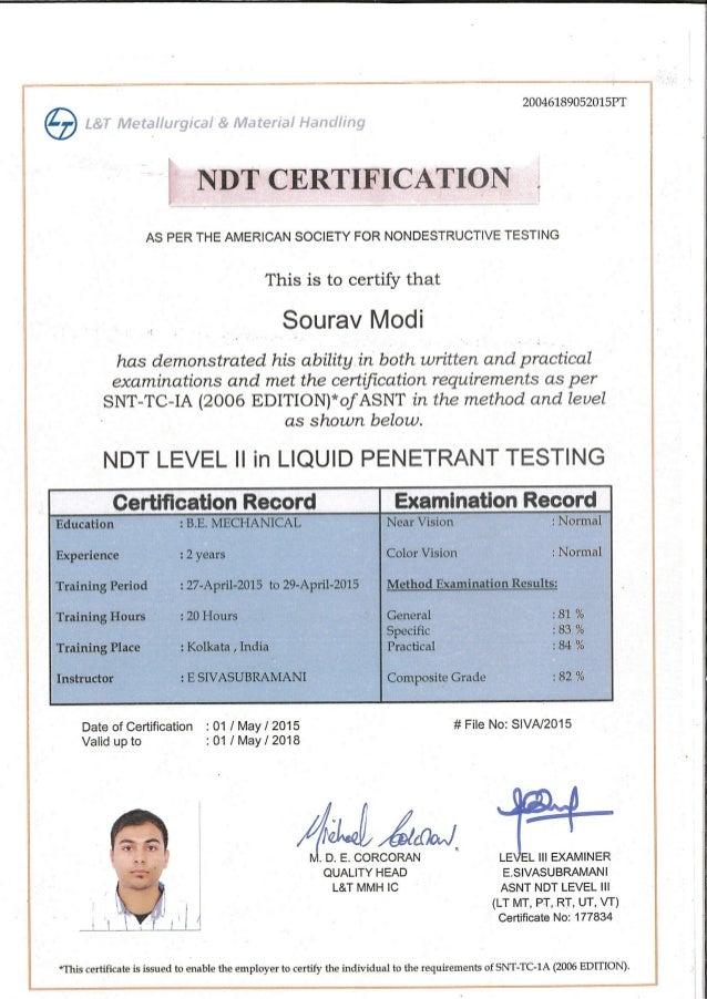 Ndt Certificate