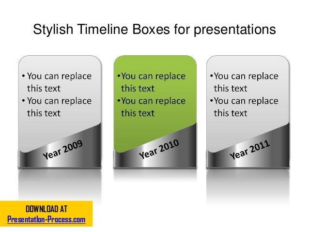 Stylish Timeline Boxes for presentations DOWNLOAD AT PresentatIon-Process.com