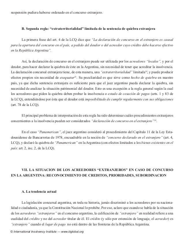 Aproximaci N Esquem Tica Al R Gimen Argentino De Insolvencia