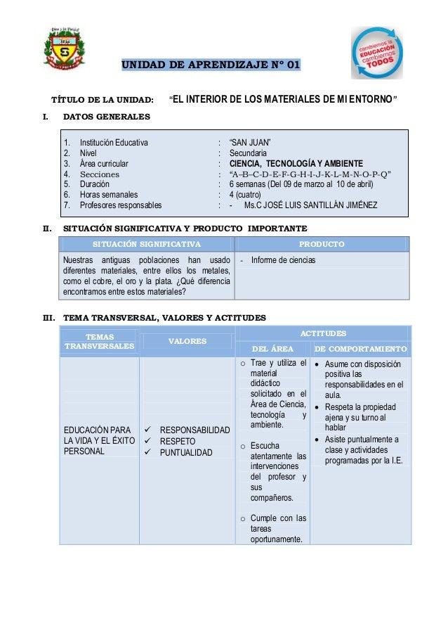 """UNIDAD DE APRENDIZAJE Nº 01 TÍTULO DE LA UNIDAD: """"EL INTERIOR DE LOS MATERIALES DE MI ENTORNO"""" I. DATOS GENERALES 1. Insti..."""