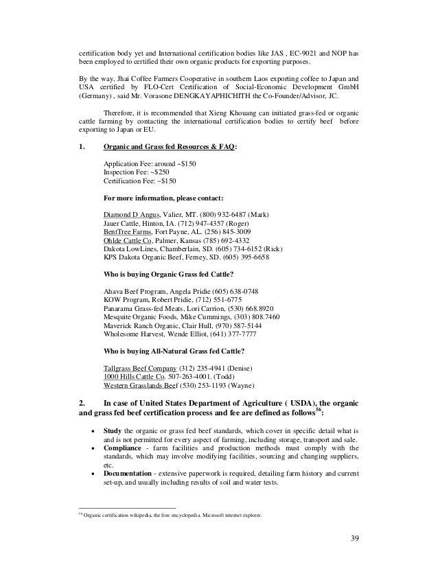 Draft Report On Worldwide Certified Cattle Farming System Analysis Fo
