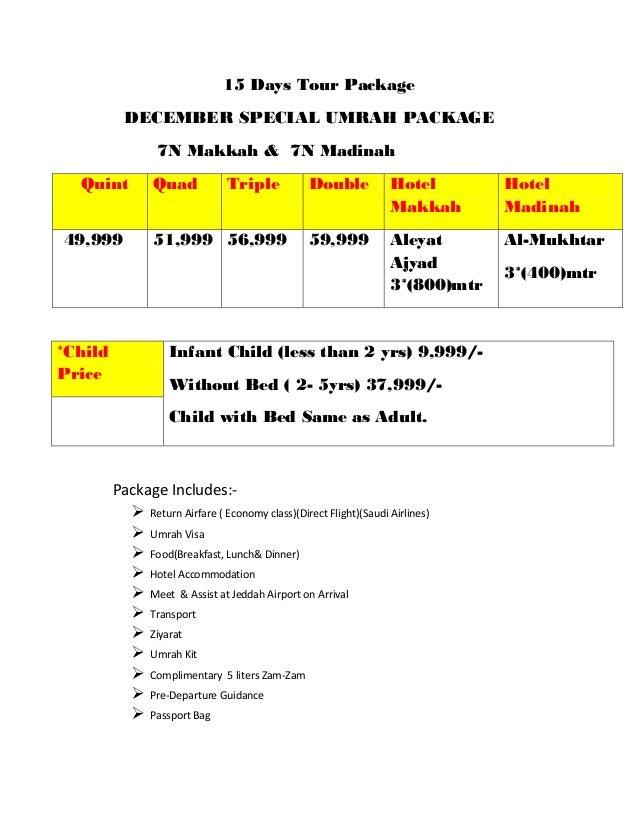 15 Days Tour Package December Special Umrah Package 7n M H 7n Madinah Quint Quad Triple