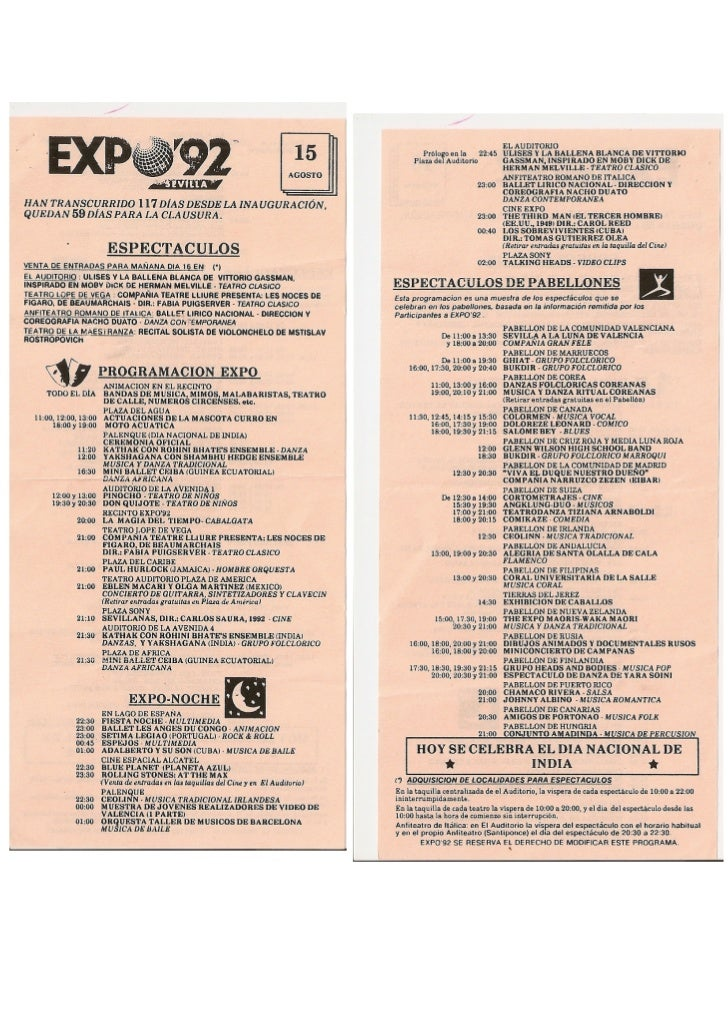 Programa del 15 de agosto de EXPO 92