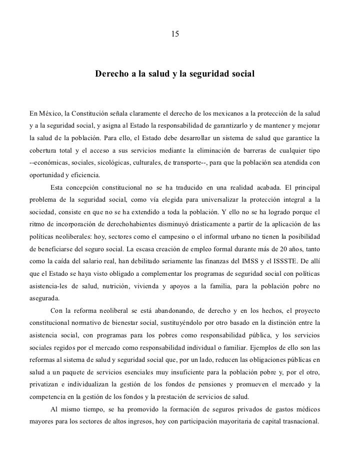 15                       Derecho a la salud y la seguridad socialEn México, la Constitución señala claramente el derecho d...