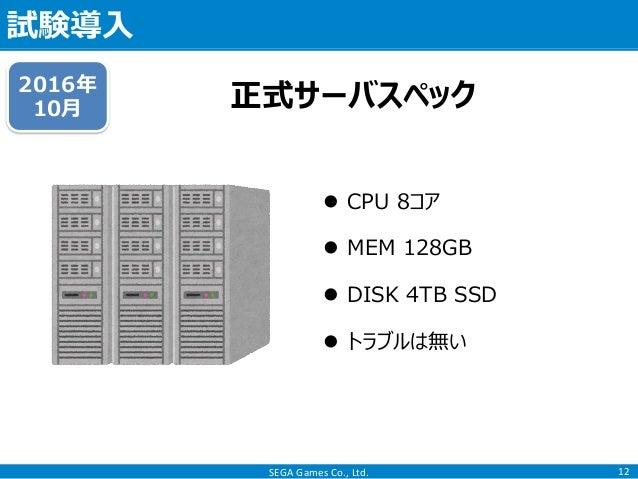 SEGA Games Co., Ltd. 試験導入 12 正式サーバスペック2016年 10月  CPU 8コア  MEM 128GB  DISK 4TB SSD  トラブルは無い