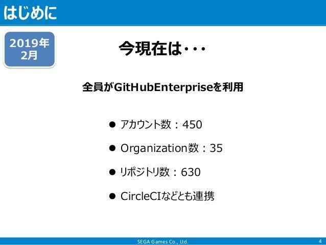 SEGA Games Co., Ltd. はじめに 4 今現在は・・・2019年 2月  アカウント数:450  Organization数:35  リポジトリ数:630  CircleCIなどとも連携 全員がGitHubEnterpr...