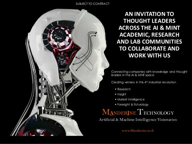 MANDERINE TECHNOLOGY Artificial & Machine Intelligence Visionaries www.Mandarine.tech Connecting companies with knowledge ...