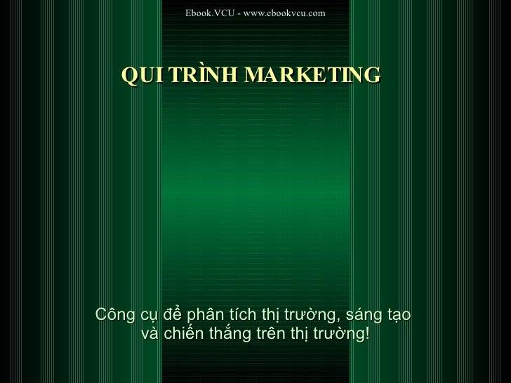 QUI TRÌNH MARKETING Công cụ để phân tích thị trường, sáng tạo  và chiến thắng trên thị trường!