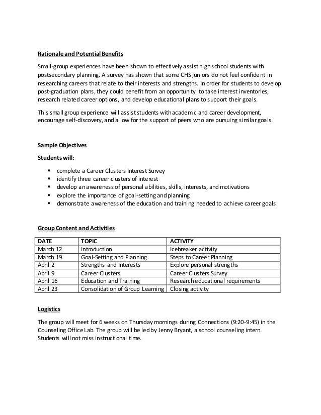 CHS Career Development Small Group Plan