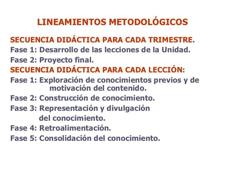LINEAMIENTOS METODOLÓGICOS <ul><li>SECUENCIA DIDÁCTICA   PARA CADA TRIMESTRE .  </li></ul><ul><li>Fase 1: Desarrollo de la...
