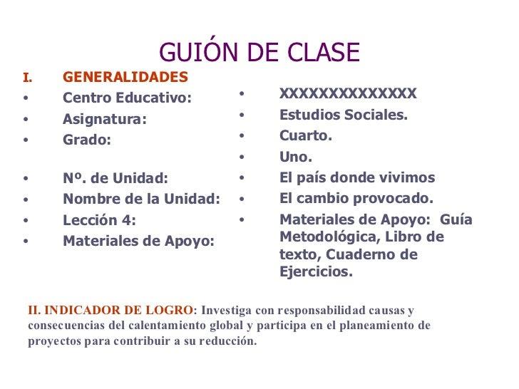 GUIÓN DE CLASE <ul><li>GENERALIDADES </li></ul><ul><li>Centro Educativo: </li></ul><ul><li>Asignatura:  </li></ul><ul><li>...