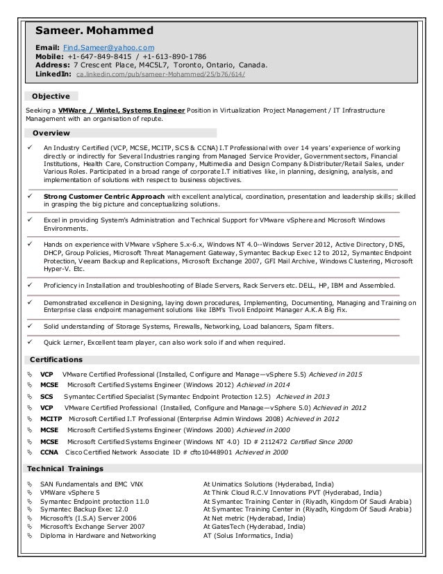 sameer u0026 39 s  vmware  u0026 wintel systems engineer resume