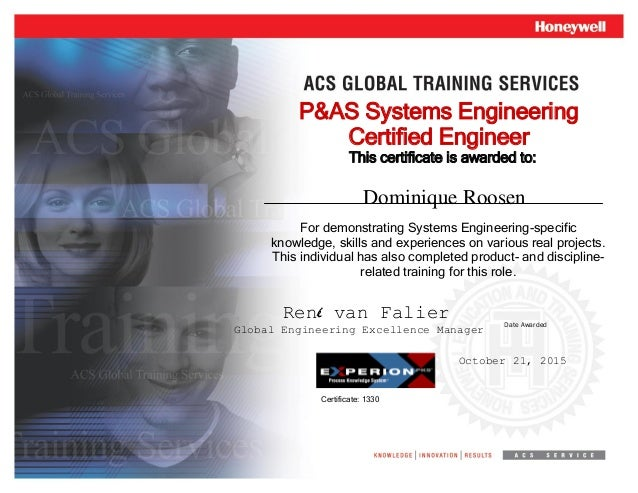 Systems Engineering Diploma Certification 1330 Dominique Roosen 1330