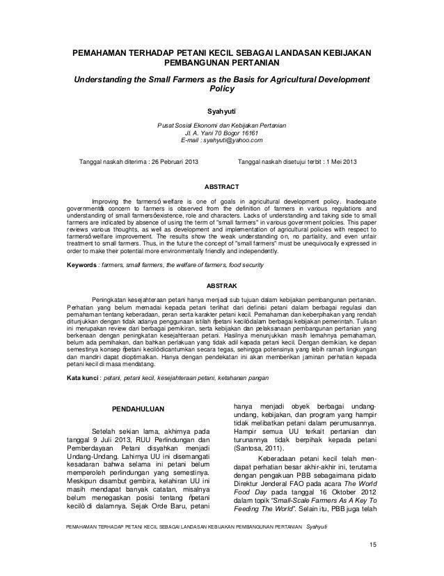 Petani Kecil Adalah Kunci Pembangunan Pertanian Dan Ketahanan Pangan