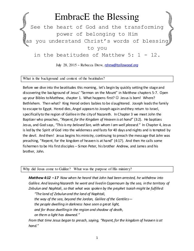 Embrace the Blessing - Matthew 5 Notes for Womens Bible