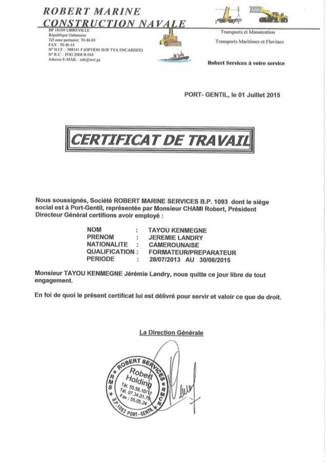 Certificat de travail RMCN