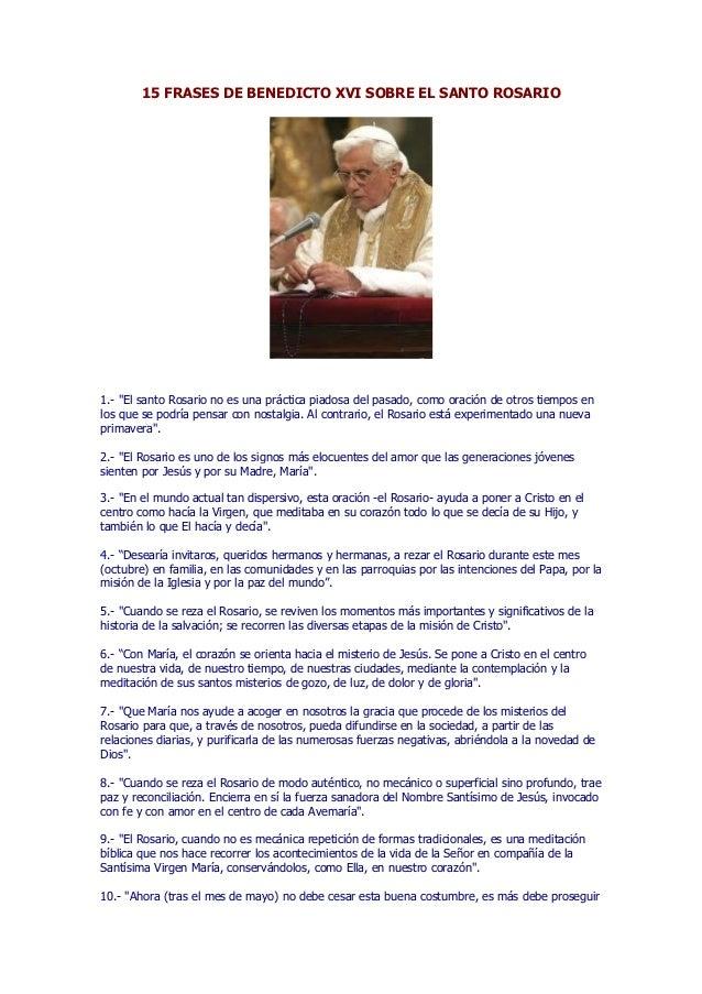 15 Frases De Benedicto Xvi Sobre El Santo Rosario
