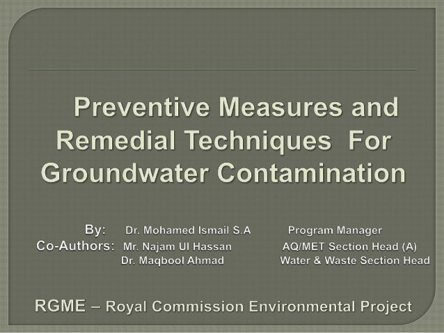 IntroductionImportance of GroundwaterSources of Groundwater ContaminationPrevention from Groundwater PollutionPartici...