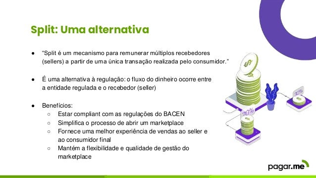 """Split: Uma alternativa ● """"Split é um mecanismo para remunerar múltiplos recebedores (sellers) a partir de uma única transa..."""