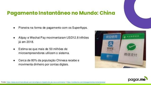 Pagamento Instantâneo no Mundo: China ● Pioneira na forma de pagamento com os SuperApps. ● Alipay e Wechat Pay movimentara...