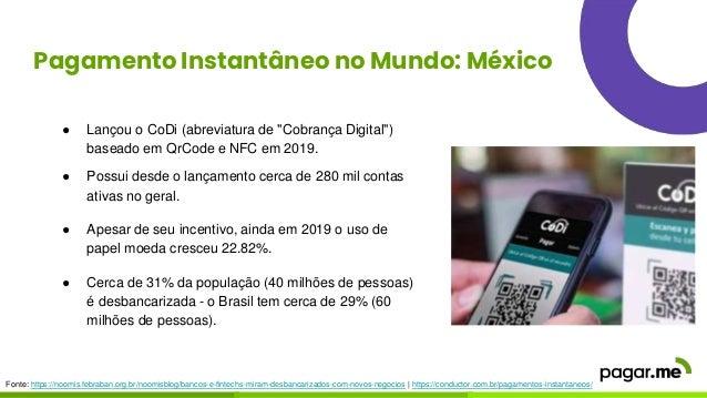 """Pagamento Instantâneo no Mundo: México ● Lançou o CoDi (abreviatura de """"Cobrança Digital"""") baseado em QrCode e NFC em 2019..."""