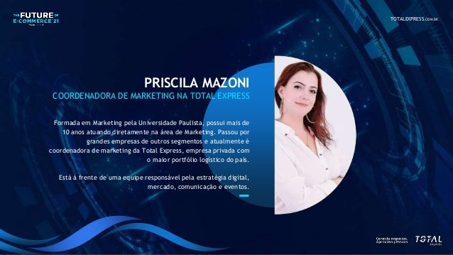 TOTALEXPRESS.COM.BR PRISCILA MAZONI COORDENADORA DE MARKETING NA TOTAL EXPRESS Formada em Marketing pela Universidade Paul...